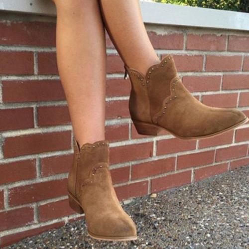 Women's Casual Studded Zip Booties