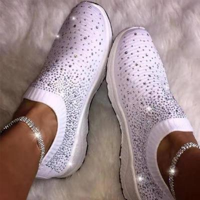 Women Casual Shoes Knitting Fashion Crystal Breathable Sports Shoes Girls Slip On Casual Woman Sneakers Rubber