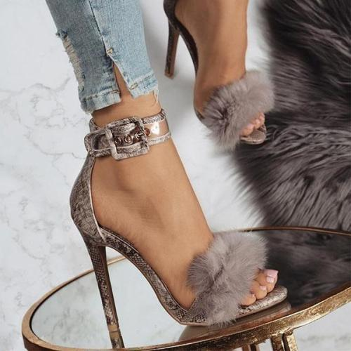 High Heel Stiletto Snake Fur Sandals