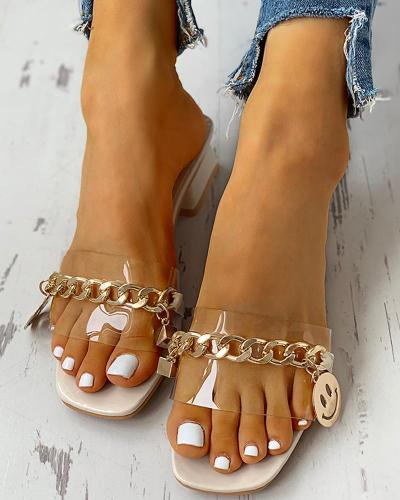 Metal Chain Trim Chunky Heeled Sandals