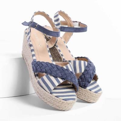 Stripes Espadrilles Sandals Buckle Strap Wedge Sandals