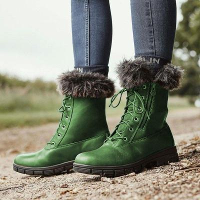 Winter Pu leather Fur Lined Low Heel Lace-Up Snow Boots