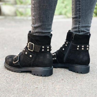 Women Round Toe Zipper Ankle Boots Casual Spring Nubuck Rivet Shoes