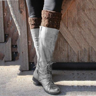 Buckle Pu Leather Long Boots Knee-High Vintage Fashion Boots With Zipper