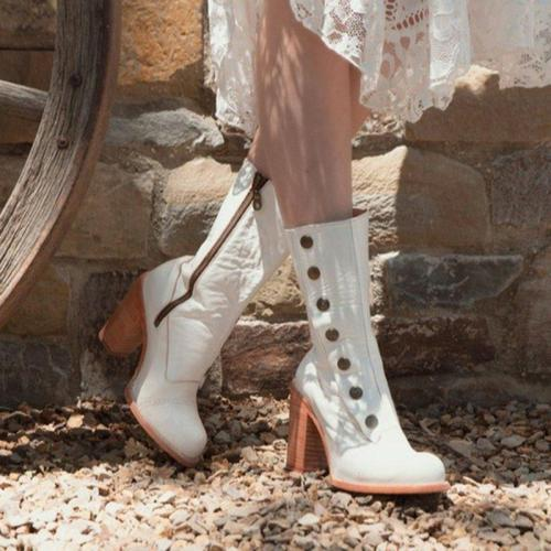 Women Round Toe Chunky Heel Casual Fall Pu Zipper Mid-Calf Boots