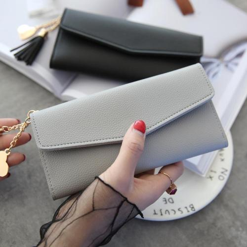 2020 Fashion Wallet Women Tassel Heart Simple Zipper Purses Long Purse Section Clutch Wallet Soft PU Leather Money Bag Portfel