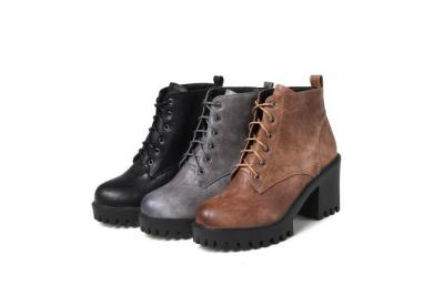 Autumn Winter Short Boots High Heel Lace Up Women's Ankle Boots
