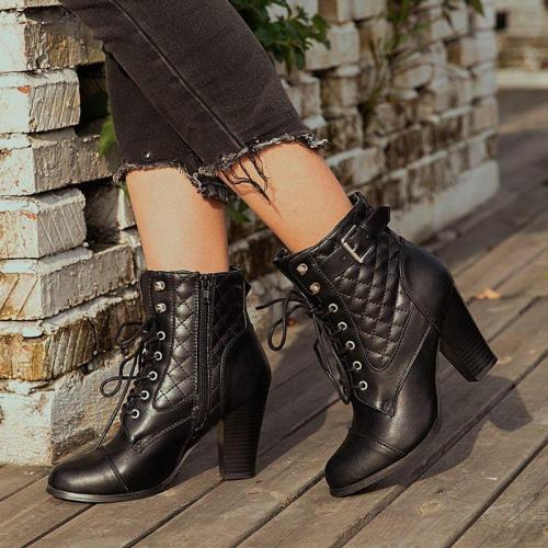 Black Casual Chunky Heel Winter Pu Boots