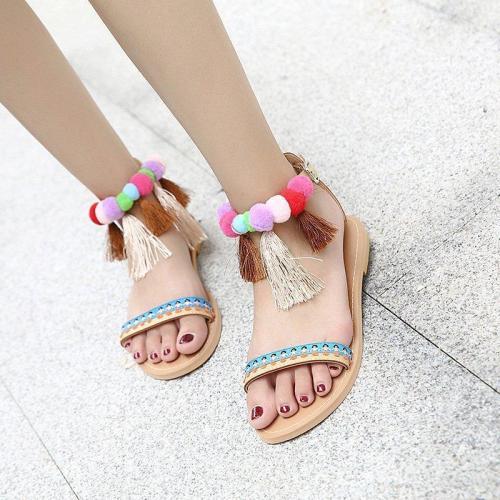 Women Tassel Flat Heel Summer Pu Casual Sandals