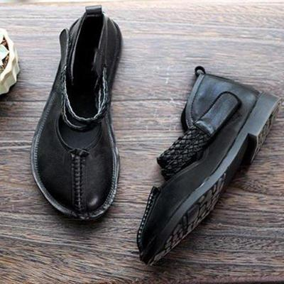 Vintage Low Heel Hook Loop Artificial Leather Loafers Womens Comfy Shoes