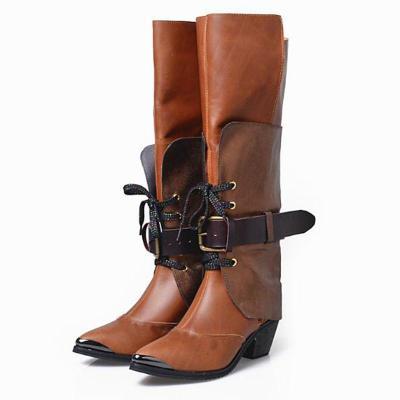 Buckle Strap Chunky Heel Pu Leather Knee-High Boots