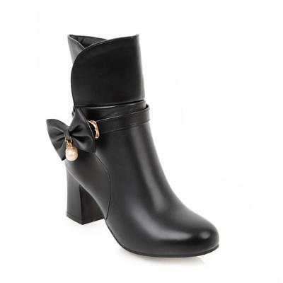 Women's Ankle Boots Autumn and Winter Sweet Bow Thick High-heeled Short Boots Shoes