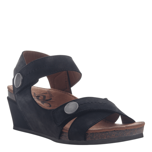 SANDEY in BLACK Wedge Sandals