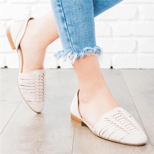 2021 Square Heel Cross Strap Plain Hollow Flat Loafers