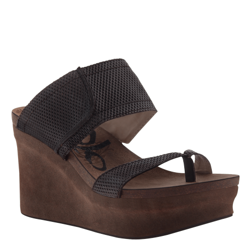 BROOKFIELD in DARK BROWN MESH Wedge Sandals