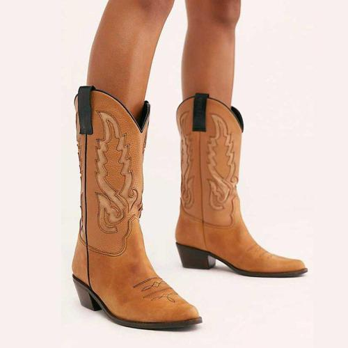 Vintage Chunky Heel Pu Winter Boots