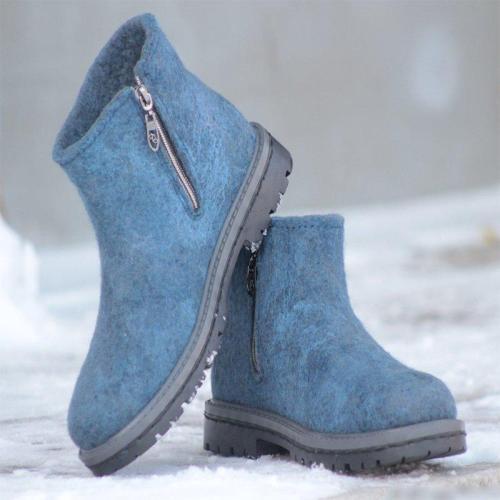 Women Winter Casual Zipper Slip-On Woolen Ankle Boots