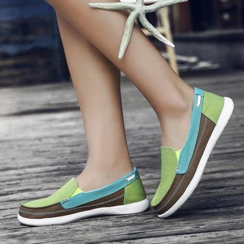 2018 Women's Canvas Slip On Autumn Loafers Ladies Elastic Band Sewing Casual Platform Female Mixed Color Fashion Shoes