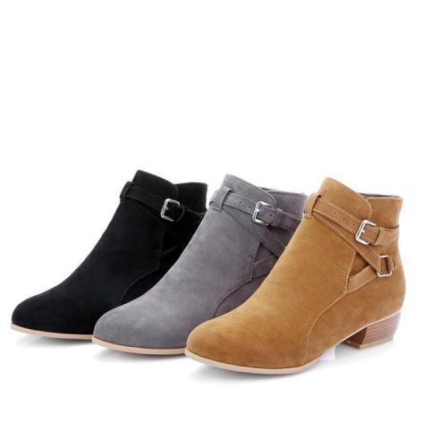 Suede Short Boots Plus Size Women Shoes 6385