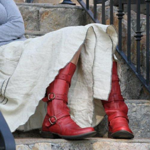 Red Low Heel Buckle Boots