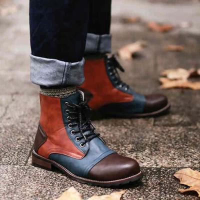 Women Lace Up Round Toe Pu Casual Low Heel Spring Panel Combat Boots