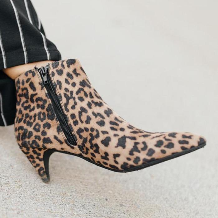 Leopard Closed Toe Chunky Heel Low (<3Cm) Women Boots