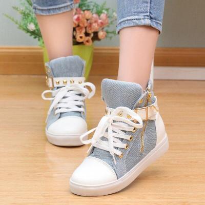 Canvas shoes woman 2020 fashion women shoes zipper wedge high help women sneakers solid color ladies shoes tenis feminino
