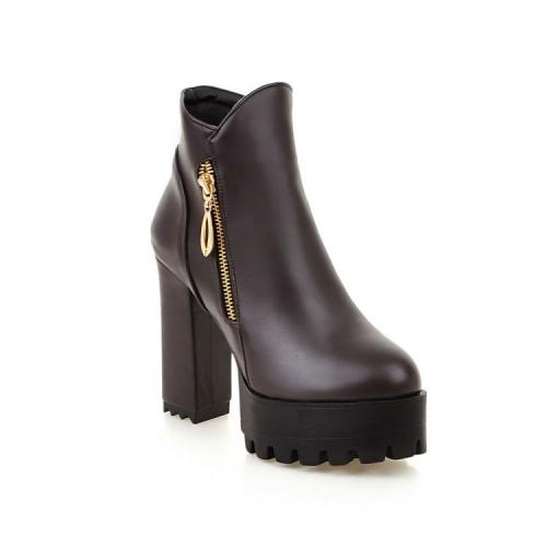 Women Shoes Fall and Winter Rough Heel Super High Heel Zipper Platform Short Boots