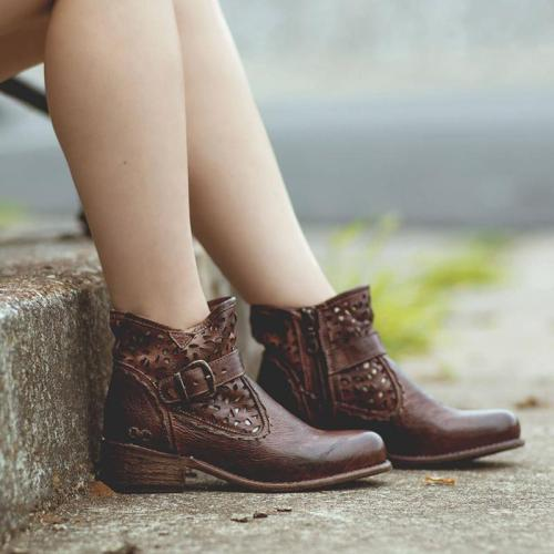 Woman Hollow-Out Buckle Vintage Low Heel Round Toe Combat Boots