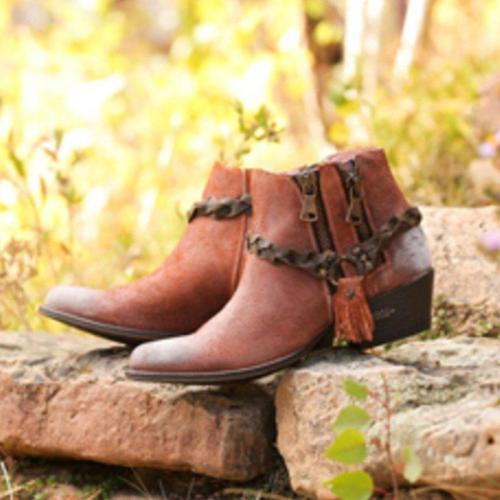 All Season Tassel Chunky Heel Fringe Ankle Boots