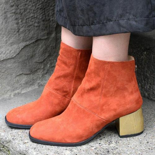 Rust All Season Square Toe Slip-On Casual Faux Suede Boots