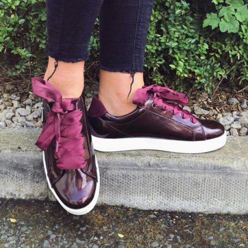 Women All Season Lace-Up Sneakers Pu Flat Heel Trainers