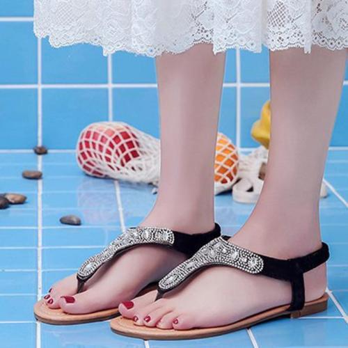 Flat Heel Rhinestone Summer Slippers