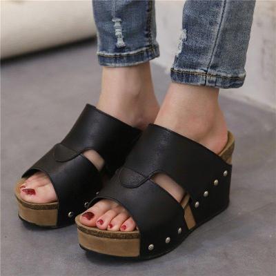 Women High Heel Wedges Peep Toe Platform Slippers