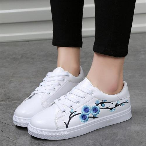 2018 Women Fashion New Embroidered Casual Shoes Summer Lace-Up Female Footwear Leisure Ladies Canvas Shoes Women CLD910