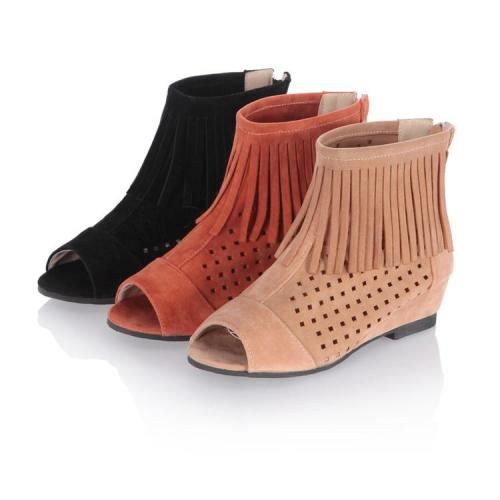 Women Peep Toe Tassel Short Boots Hollow Out Shoes 4436