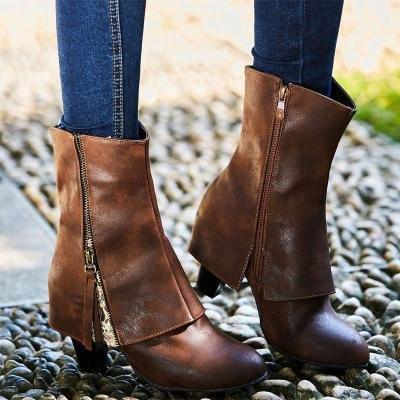 Women Classic Booties Casual Chunky Heel Zipper Plus Size Shoes