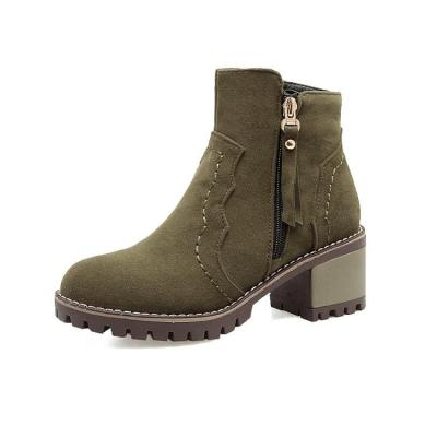 Women's Zip Ankle Boots Chunky Heels Shoes Autumn and Winter 3942