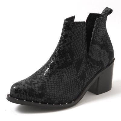 Women's Stylish Snake Print Block Heel Ankle Booties Slip-On Vintage Boots