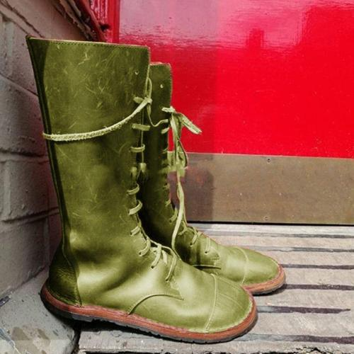 Women's lace-up casual flat boots