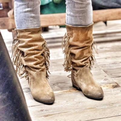 Khaki Tassel Slip On All Season Knee Boots