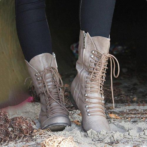 Winter Mid-Calf Pu Leather Lace-Up Low Heel Boots