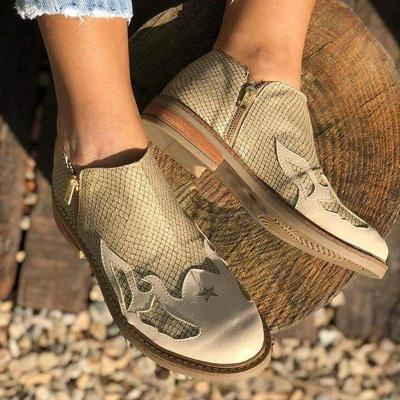 Low Heel Zipper All Season Ankle Boots Artificial Leather Womens Loafers