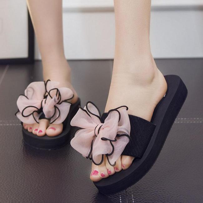 Bowknot Peep Toe Beach Casual Flat Sandals For Women