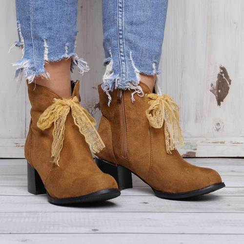 Women Ankle Boots Bowknot Side Zipper Chunky Heel Shoes