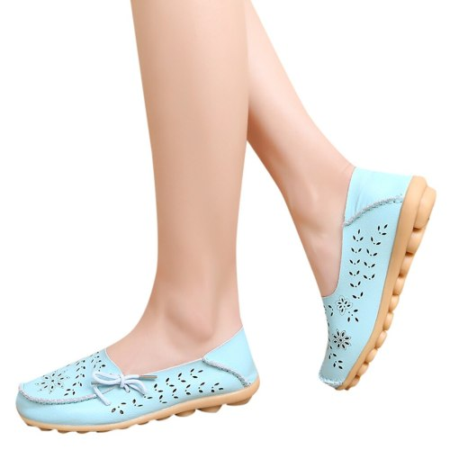 Fashion Women Mother Flats Shoes Women Hole Flats Casual Shoes Bow Driving Ladies Flat Loafers Shoes