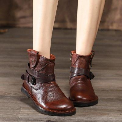 Women's leather flat ankle boots