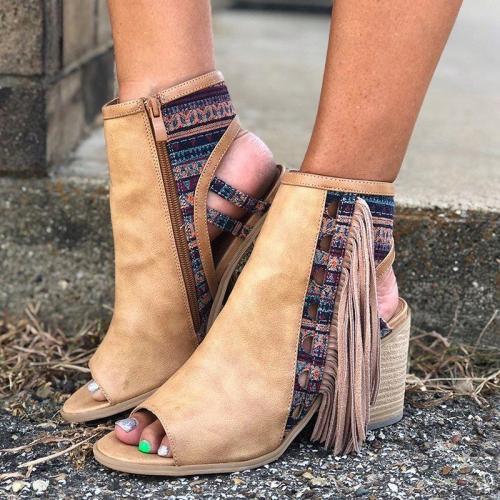 Tassel Peep Toe Side Zipper Slingback Chunky Heel Booties