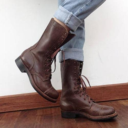 Vintage Lace-Up Block Heel Mid-Calf Round Toe Comfy Boots