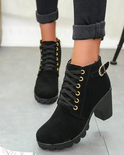 Solid Chunky High Heeled Ankle Boots